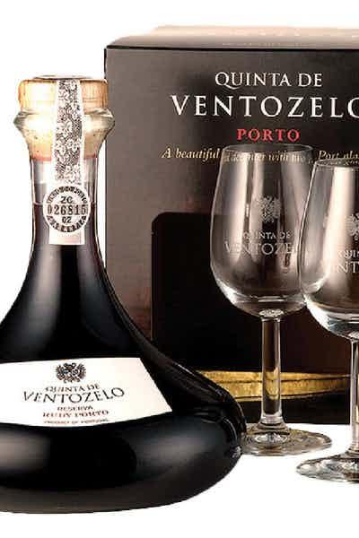 Quinta De Ventozelo Ruby Port Reserva Decanter 2 Glass Box