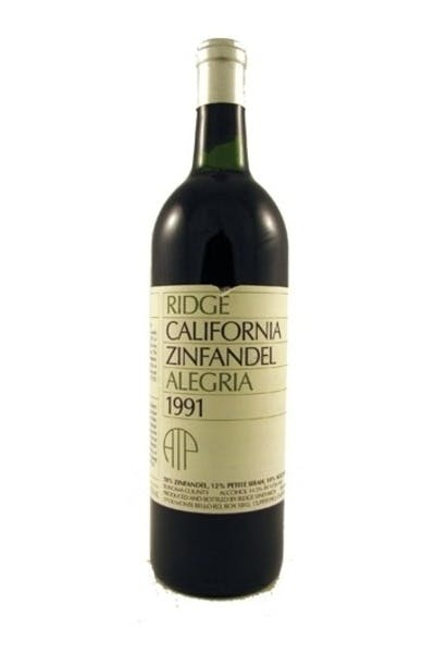 Ridge Vineyards, Zinfandel Alegria Atp 1991
