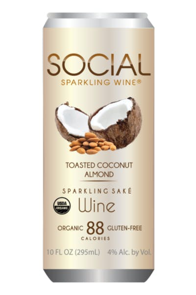 Social Toasted Coconut Almond Sparkling Sake Wine