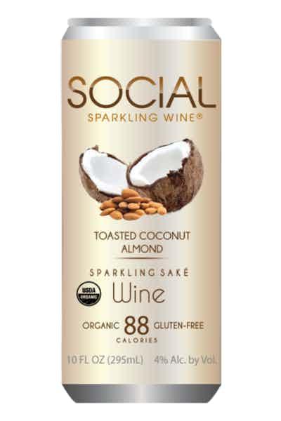 Social Toasted Coconut Almond Sparkling Sake Wine